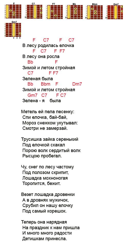 v-lesu-rodilas-elochka-noty-akkordy-3131